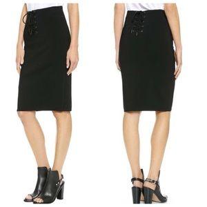 Rag & Bone Black Roxy Pencil Skirt Lace-Up